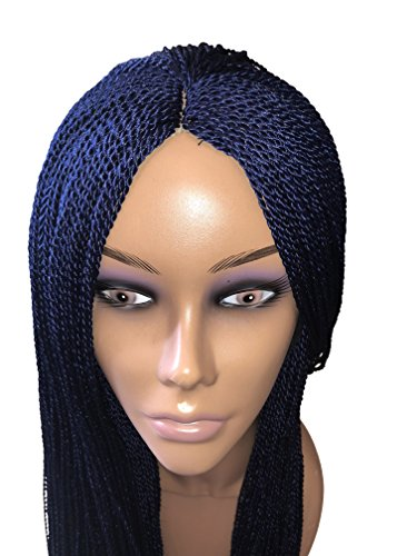 Sleek Twist - Authentic African Hair Braided Wigs –Resilient, Sleek, Handmade Micro Twist Braiding, Comfy Fit, Silk Lace Cap, Synthetic–Change Hair Styles & Enjoy A Natural Look Color-28inches … (Blue)