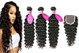 Brazilian Virgin Hair 3 Bundles with Closure Brazilian Deep Wave Hair with 4x4 Free Part Closure Unprocessed Virgin Human Hair (20 22 24 +18, Natural Color)