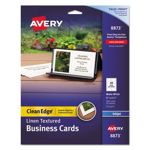 2-Side Printable Clean Edge Business Cards, Inkjet, 2 x 3 1/2, Linen Wht, 200/Pk, Sold as 200 Each