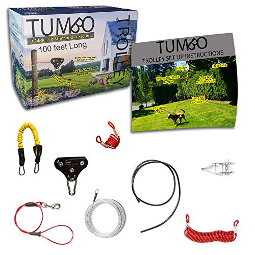 Tumbo Trolley Xtreme 100 ft Dog Containment System - Tri-Pulley Slider with Stretching Coil Cable with Anti-Shock Bungee (Safer and Less tangles) Aerial Dog Tie Out