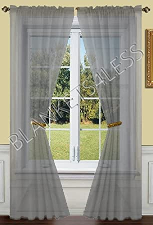 Amazon 2 Piece Solid Grey Gray Sheer Window Curtains Drape Panels Treatment 55w X 84l Home Kitchen