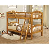 Kings Brand Furniture B125H Wood Arched Design Convertible Bunk Bed, Twin, Honey Finish