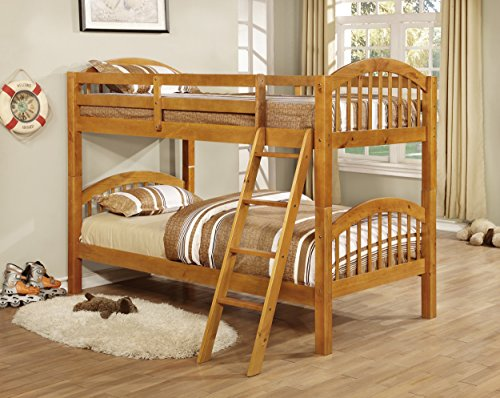 Kings Brand Furniture Twin over Twin Wood Bunk Bed with Ladd