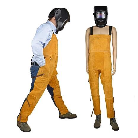 Ropa de trabajo de soldador, permeabilidad al aire resistencia al desgaste anti-escaldaduración de la rodilla protección de la pierna protección ignífuga de ...