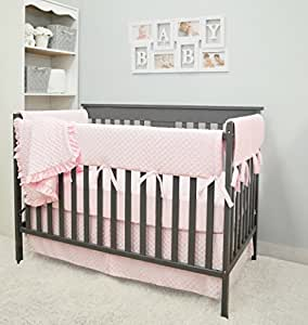American Baby Company Heavenly Soft 6 Piece Crib Rail Bedding Set, Pink, for Girls