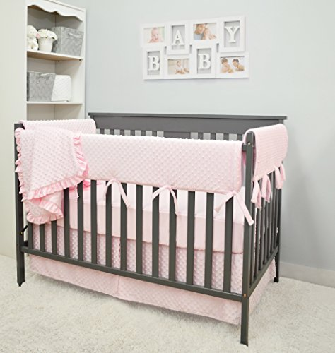 - American Baby Company Heavenly Soft 6 Piece Crib Rail Bedding Set, Pink, for Girls