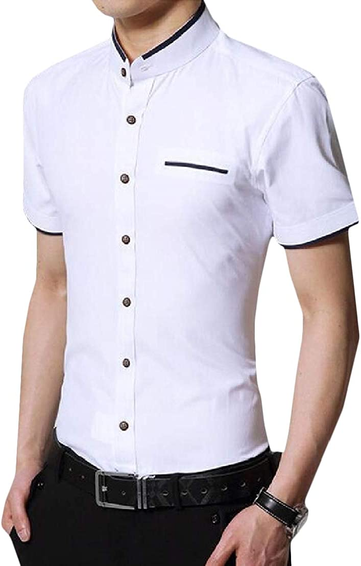 Wofupowga Mens Classic Fit Short Sleeve Stand Collar Button Up Business Shirts