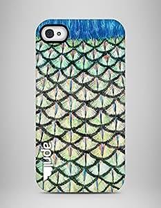 """april® Funda carcasa para iPhone 4 y 4S, """"Peacock feather"""" diseño exclusivo hecho a mano plumas pavo real estampado"""
