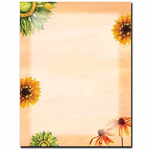 Sunny Flowers Letterhead Laser & Inkjet Printer Paper, 100 Pack Border Letterhead 100 Sheets