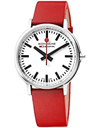 Men's 'SBB' Swiss Quartz Stainless Steel and Leather Casual Watch, Color Red (Model: MST.4101B.LC)