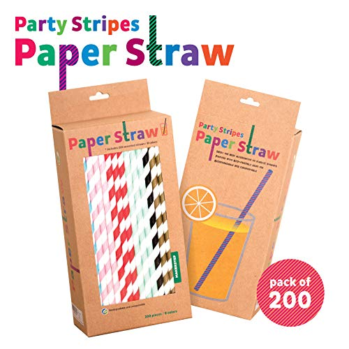 Celganic 200 Pieces Biodegradable Paper Straws - 8 Different Colors, 7.76 inch in length. Rainbow Stripe Drinking Straws, Bulk Paper Straws for Juice, shakes, Cocktail, Coffee, Soda, Milk ()