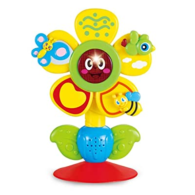 HEITIGN Baby Tabletop Toy, Baby Sunflower Music Suction Cup Toy Rotating Rattle Toys Baby Toy with 4 Singing Songs and Beads, Highchair Toy for Early Learning Toy Baby Feeding Toy Birthday Kids Gift: Toys & Games