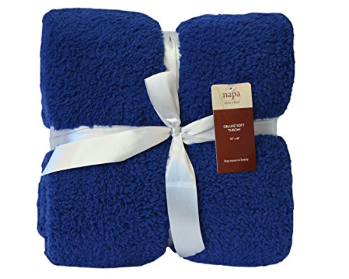 Napa Sherpa Throw Blanket Blue 50' x 60', Fuzzy Couch Throw, Lightweight Decorative Bed Sofa Blanket, Reversible TV Blanket
