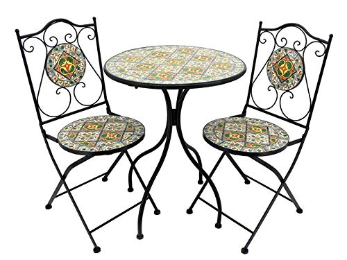 Lesera Ltd. Mosaic Tile Bistro Set Chicago, (1 Table, 2 Folding Chairs) (Restaurant Patio Furniture Chicago)