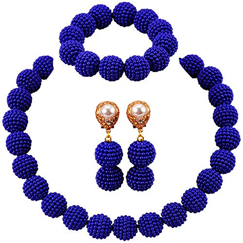 (aczuv Nigerian Wedding African Beads Jewelry Set Women Simulated Pearl Necklace and Earrings)