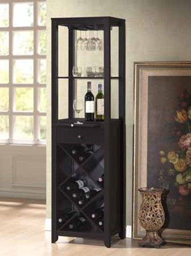 Brand New 19'' x 15'' x 69.8''H Dark Espresso Wood Finish Wine Rack Tower Shelf by Click 2 Go