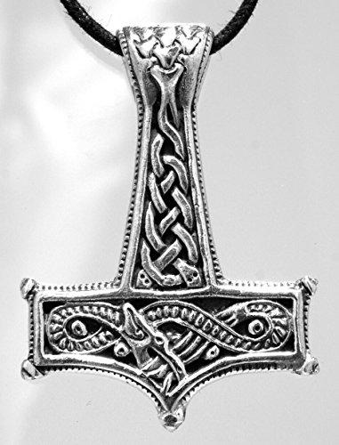 Thorshammer pendentif rond en argent sterling 925 avec chaîne gourmette en argent sterling 925, épaisseur 2,5 mm 45-65 cm