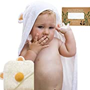 Bamboo Hooded Towel for Kids with Bath Sponge | Luxury Wrap for Baby | Plush, Extra Soft, Absorbent, Antibacterial, 35 x 35 | Natural Shower Set for Boys and Girls