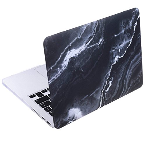 Cosmos Rubberized Plastic Hard Shell Cover Case for MacBook (MacBook Pro 13 Retina (A1502 / A1425), Black Marble Pattern)