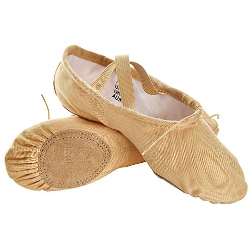 Camel Toddlers Different Ballet for Canvas Pantuflas 34 lemon Classic Soft EU s Dance Children Shoes Women Girls in Kids Size Camel OxwWEaqpnB