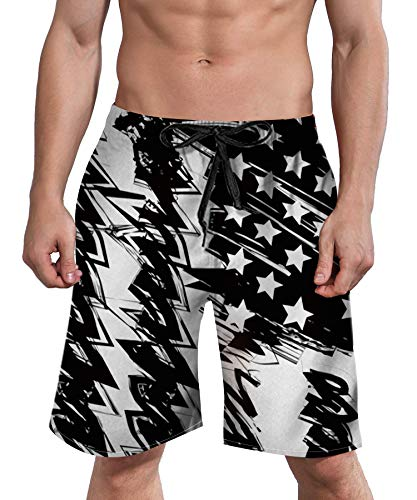 Hawaiian Lined Swim Trunks (Mens American Flag Drawstring Shorts with Pockets Black Swim Trunks 90S USA Unique 3D Printed Boardshorts Mesh Lined Summer Apparel L)