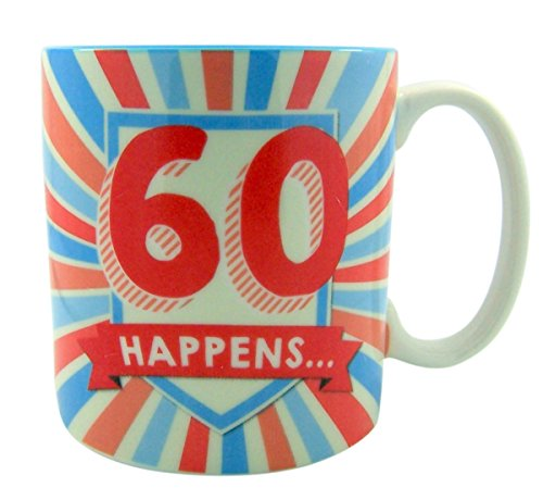 60 Happens Ceramic Coffee Cup Mug for Milestone Birthday, 15 Ounce