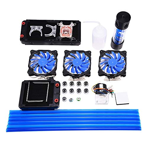 Richer-R Computer Water Cooling Kit, DIY 120/240mm Heat Sink CPU Water Block Pump Reservoir LED Fan Compputer Water Cooling Kit