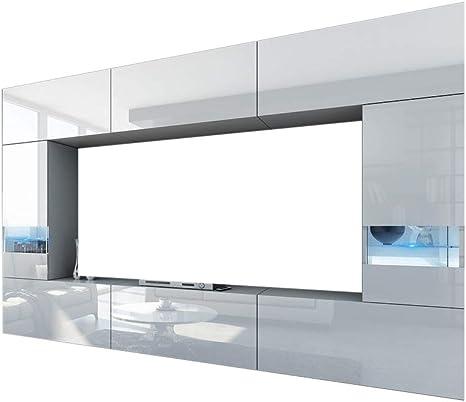 HomeDirectLTD Future 29, Conjunto de Muebles De Salón, Módulo Bajo para TV Y Multimedia, Unidad de Entretenimiento, Mueble TV, Suite a Estrenar (Iluminación RGB LED Opcional) (29_HG_W_2, RGB Remoto): Amazon.es: Hogar
