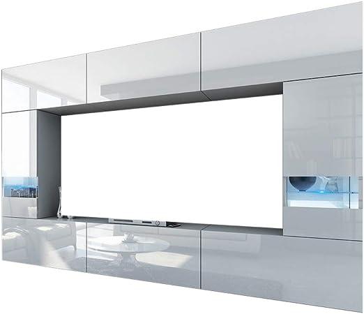 HomeDirectLTD Future 29, Conjunto de Muebles De Salón, Módulo Bajo para TV Y Multimedia, Unidad de Entretenimiento, Mueble TV, Suite a Estrenar (Iluminación RGB LED Opcional) (29_HG_W_2, Mueble): Amazon.es: Hogar