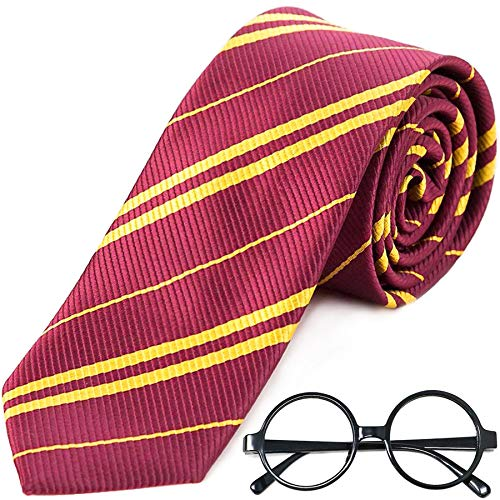 Easy No Cost Halloween Costumes For Adults (Striped Tie with Novelty Glasses Frame for Cosplay Party Costume Necktie Accessories for Halloween Christmas Party and Daily Use -)