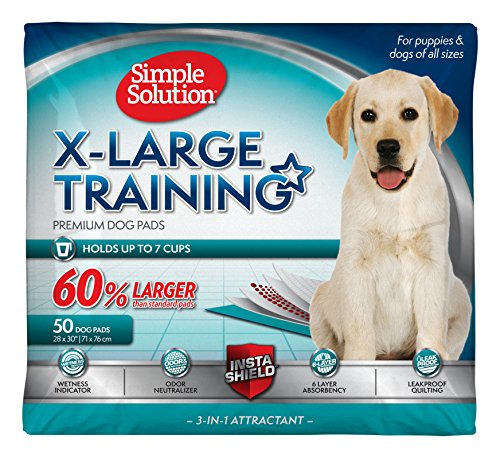 Simple Solution Training Puppy Pads | Extra Large, 6 Layer Dog Pee Pads, Absorbs Up to 7 Cups of Liquid | 28x30 Inches, 50 Count
