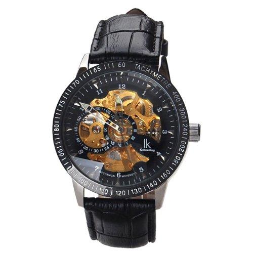 IKcolouring - Relojes para hombre huecos totalmente automáticos correa de cuero: Amazon.es: Relojes