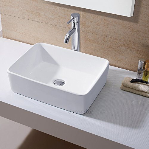 Top Mount Bathroom Sink - Decor Star CB-013 Bathroom Porcelain Ceramic Vessel Vanity Sink Art Basin