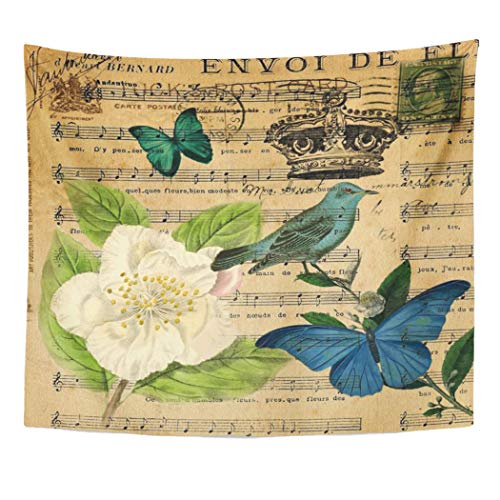 Semtomn Tapestry Artwork Wall Hanging Teal Camellia Vintage Bird Music Notes French Botanical Blue 50x60 Inches Tapestries Mattress Tablecloth Curtain Home Decor Print