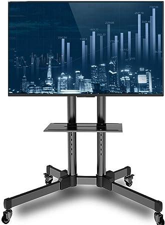WSJTT Carro móvil de TV Caja de laminación de TV con Capacidad for Ordenador portátil Plataforma/Bandeja, Bloqueo de Las Ruedas 21-70 Pulgadas de Pantalla LCD LED Plasma OLED Trolley Floor Stand ALM: