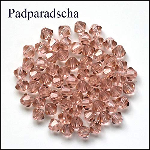 Calvas Wholesale 16colors 200PCS/LOT Bicone Beads 5328/5301 4mm Czech Loose Beads Crystal Faceted Glass Beads for DIY Jewelry Making - (Color: padparadscha, Item Diameter: 4mm)