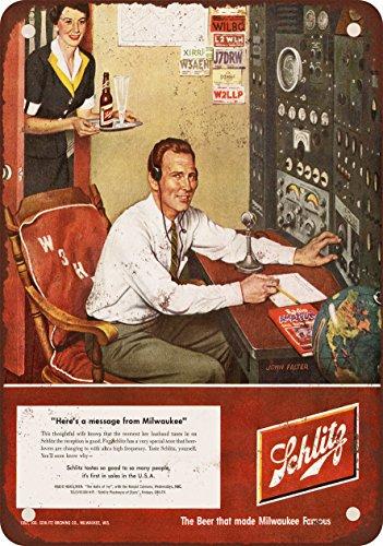 """9"""" x 12"""" Metal Sign - 1952 Schlitz Beer and Ham Radio - Vint"""