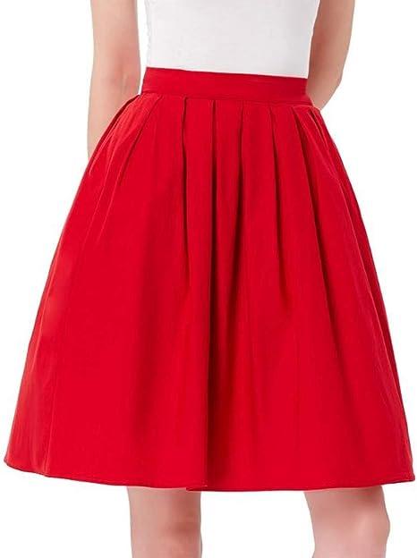 HEHEAB Falda,La Mujer Roja Jupe Verano Algodón Cintura Alta Oficina Womens Vintage Plisado Faldas Midi Skater Mini Falda Corta: Amazon.es: Deportes y aire libre