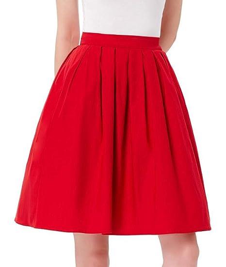 HEHEAB Falda,La Mujer Roja Jupe Verano Algodón Cintura Alta ...