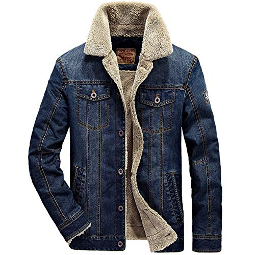 (Newbestyle Men's Winter Vintage Sherpa Lined Denim Trucker Jacket Button Down Slim Quilted Jeans Coats Outwear Dark Blue)