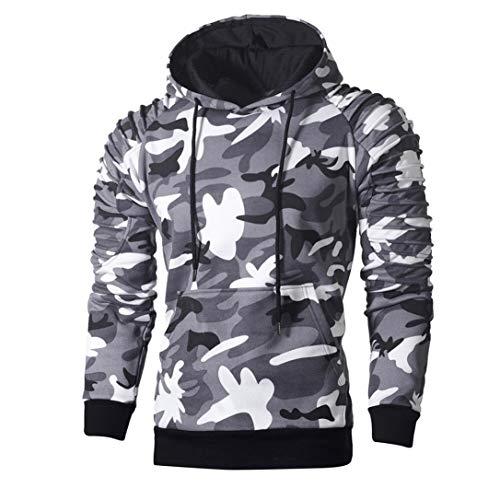 Mens' Long Sleeve Hoodie Sweatshirt Pullover Camouflage Hoodie Sweatshirt Tops Autumn Jacket Outwear (Gray, L) by Hattfart Hooded Sweatshirt (Image #1)