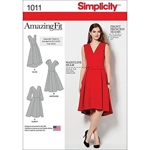 Simplicity Creative Patterns US1011BB Misses Plus Amazing Fit Dress, Size BB (20W-28W) (Dress Sew Princess)