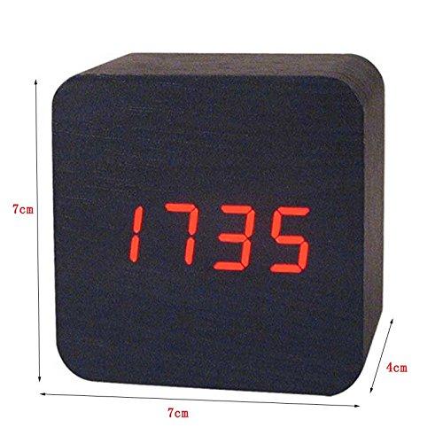 Amazon.com: Wooden Digital LED Desk Alarm Clock Acoustic Control Sensing Clock Desktop Clock Electronic Digital Clock reloj despertador: Home Audio & ...