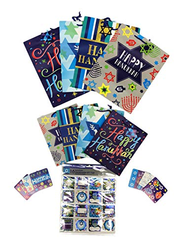 - Happy Hanukkah Festive Holiday Gifting Bundle Including 8 Assorted Gift Bags 16 Gift Tags & 6 Gift Cards Chanukah Gift Bundle
