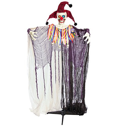 Halloween Haunters Standing 6 Foot Scary Jester Clown with Flashing Multi-Color LED Eyes Prop Decoration - Creepy Court Jestering Hat - Haunted House Graveyard Entryway Party Display -