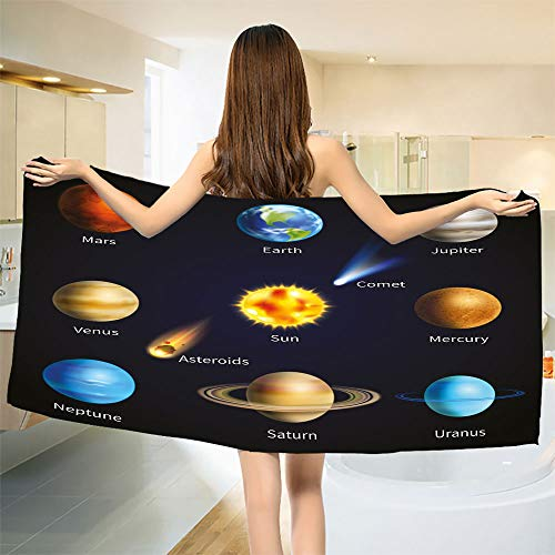 smallbeefly Educational Bath Towel Realistic Solar System Planets and Space Objects Asteroids Comet Universe Space Bathroom Towels Multicolor Size: W 27.5'' x L 58'' by smallbeefly