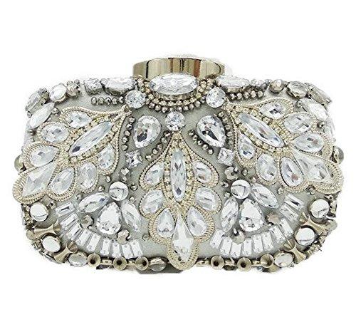 Pochette Femme Mariage Robe Soirée À Strass Silver Cristal Sac Main Épaule Noble pUdqU