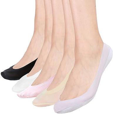 Bakicey Calcetines Mujer Calcetines de corte de Algodón Mujeres Socks Calcetines Invisibles Algodón Calcetines Cortos Elástco Con Silicona Antideslizante, 5 Pares: Amazon.es: Ropa y accesorios
