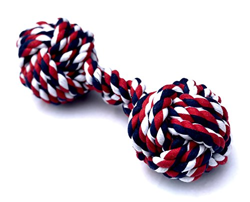 Mary & Kate Pets XL Dog Rope Toy Aggressive CHEWERS - Puppy Chew Knots - Heavy Duty - Sturdy - Durable - 100% Cotton - Cleans & FLOSSES Teeth - Free Replacement (X-Large, Blue Red)