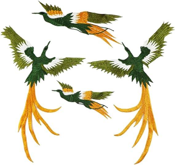 4 Pi/èces//Set Phoenix Oiseau Forme Tissu Autocollants V/êtements Bricolage Broderie V/êtements Patch Couture D/écoration Accessoires Applique